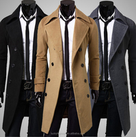 Latest Design Classic Men Winter Double Breasted Long Trench Coat