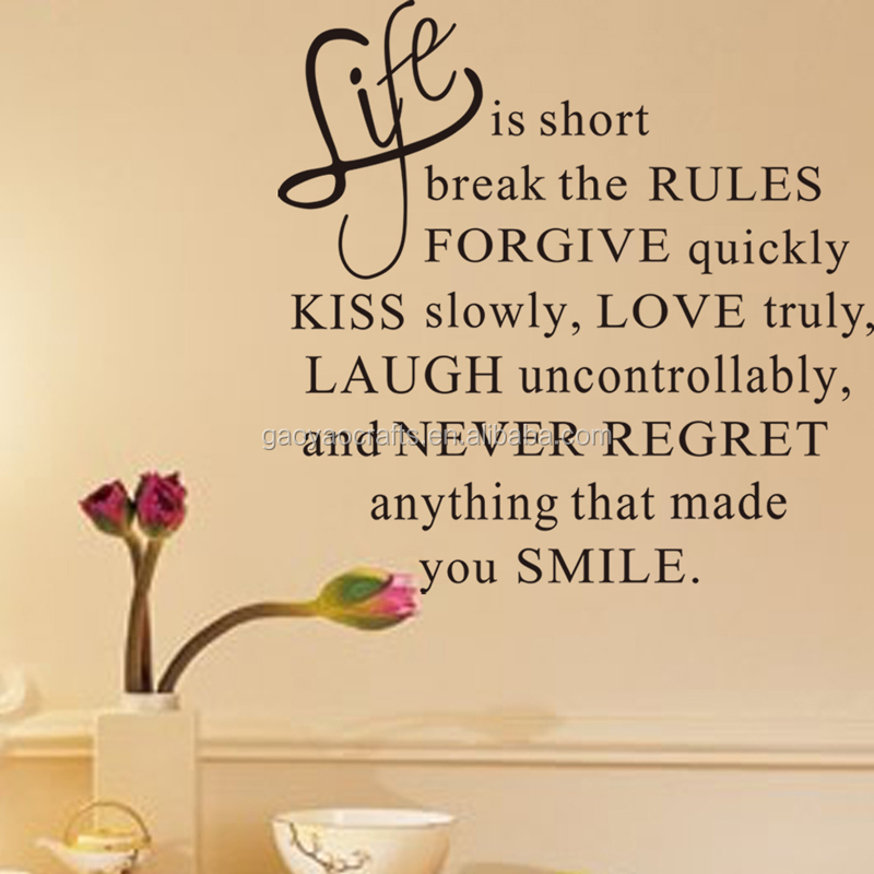Life Is Short Inspirational Quotes Wall Decal Sticker Living Room ...