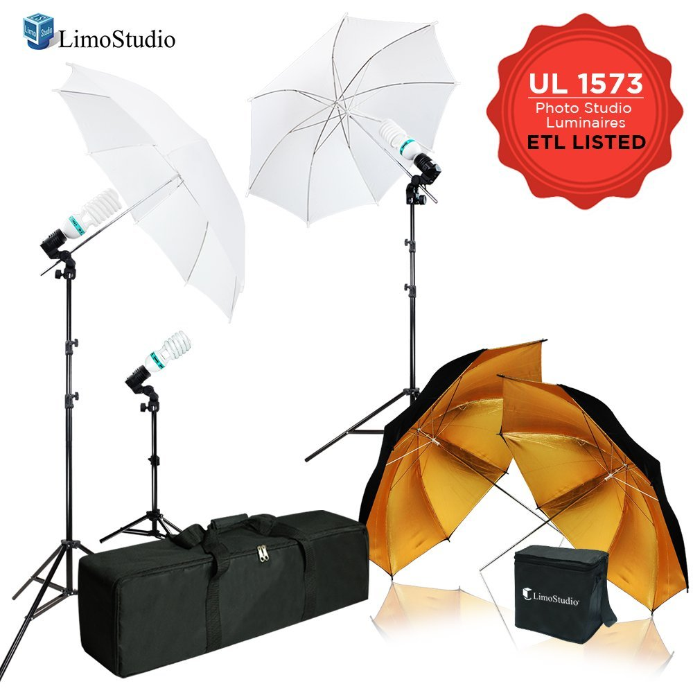 LimoStudio 600W 5500K Photo Video Studio Continuous Lighting Kit, UL 1573 ETL Listed Photo Bulb Socket with Umbrella Reflector Insertion, White and Gold Umbrella, Light Stand Tripod, AGG2107