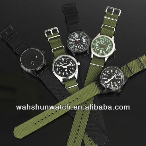 factory direct selling changeable nato watch with army green canvas straps