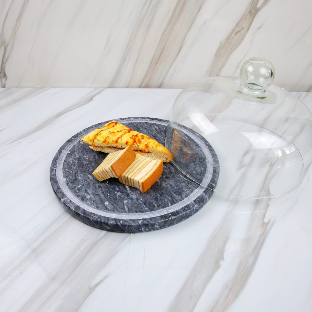 Wholesale Dia20*0.5cm Round Marble Cheese Board with Glass Dome Cover