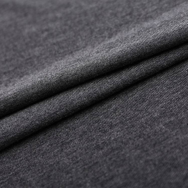 Knitted polyester viscose elastane single jersey fabric