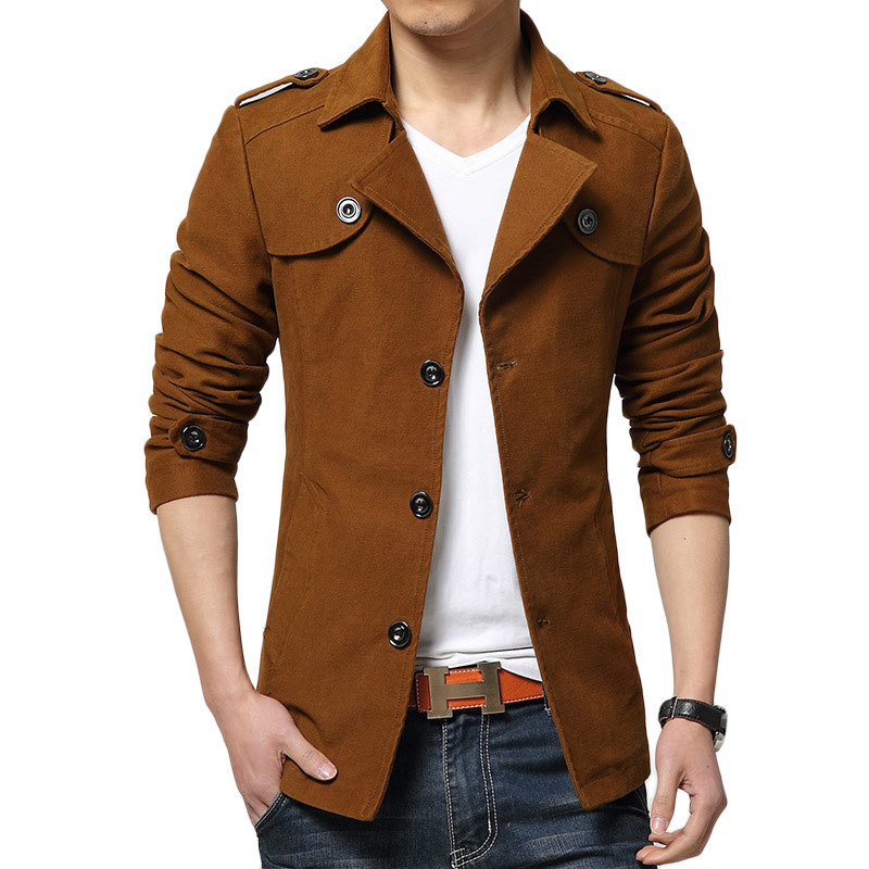 05d940ee0380 Get Quotations · 2015 New Arrival Autumn Trench Coat Men Single Breasted  Trench Coat Men Outerwear Casual Coat Men s