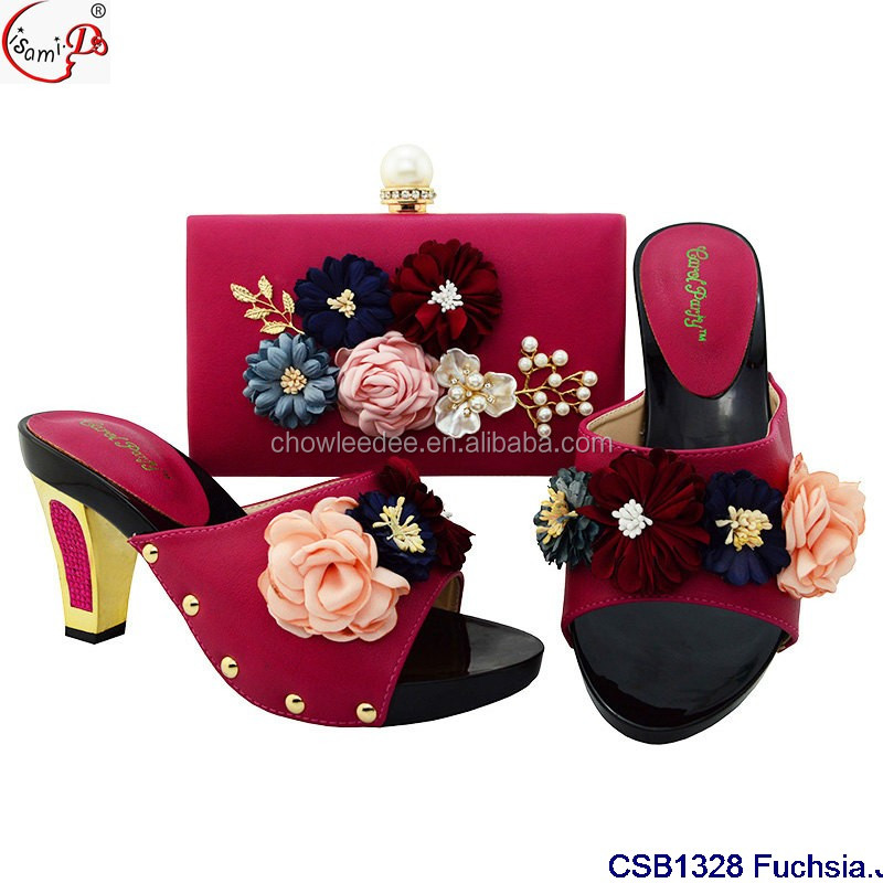 and heel 43 shoes style and bag big flower wedges Fashionable women size high party bag shoes 6OHqPR5n
