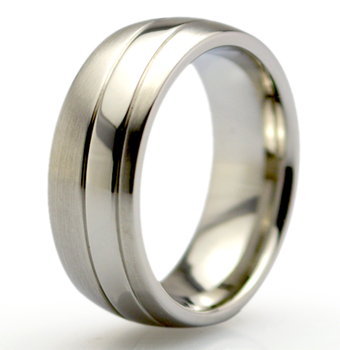 Shiny Sandblasted Matte Stainless Steel Ring Titanium Jewelry For