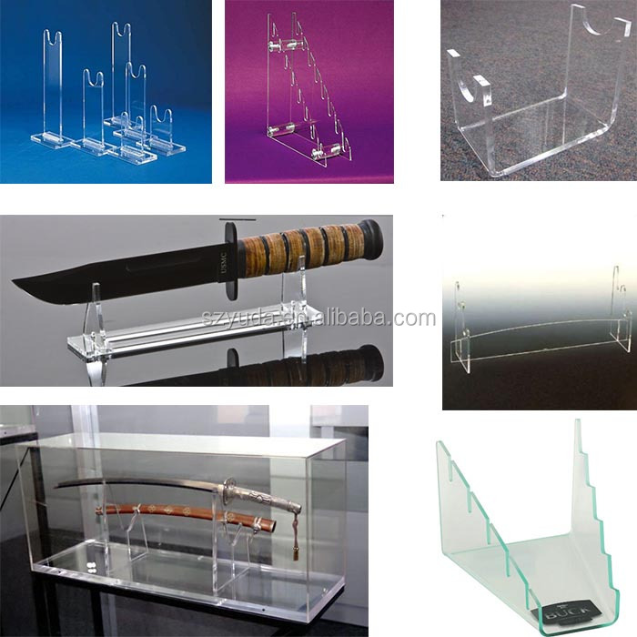 High Transparent Luxury Large Size Acrylic Perspex Gun Wall Mount Display Stand For Broadswords
