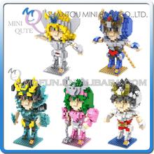 Mini Qute LOZ 5 styles Anime boy cartoon model Saint Seiya Ikki Super hero plastic action