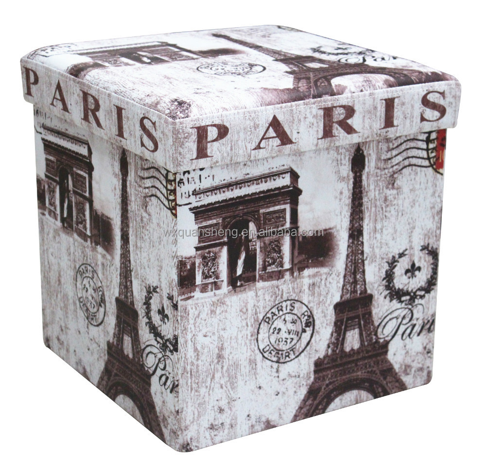 gros pouf paris tour eiffel pliable pouf pour le stockage. Black Bedroom Furniture Sets. Home Design Ideas