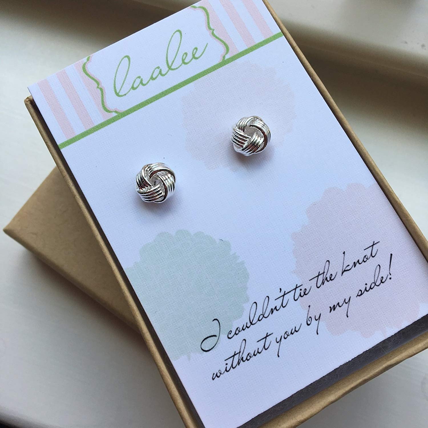 621020a37 Silver Knot Earrings Knot Jewelry Stud Earrings Post Earrings Bridesmaid  Card Gift Tie the Knot Card