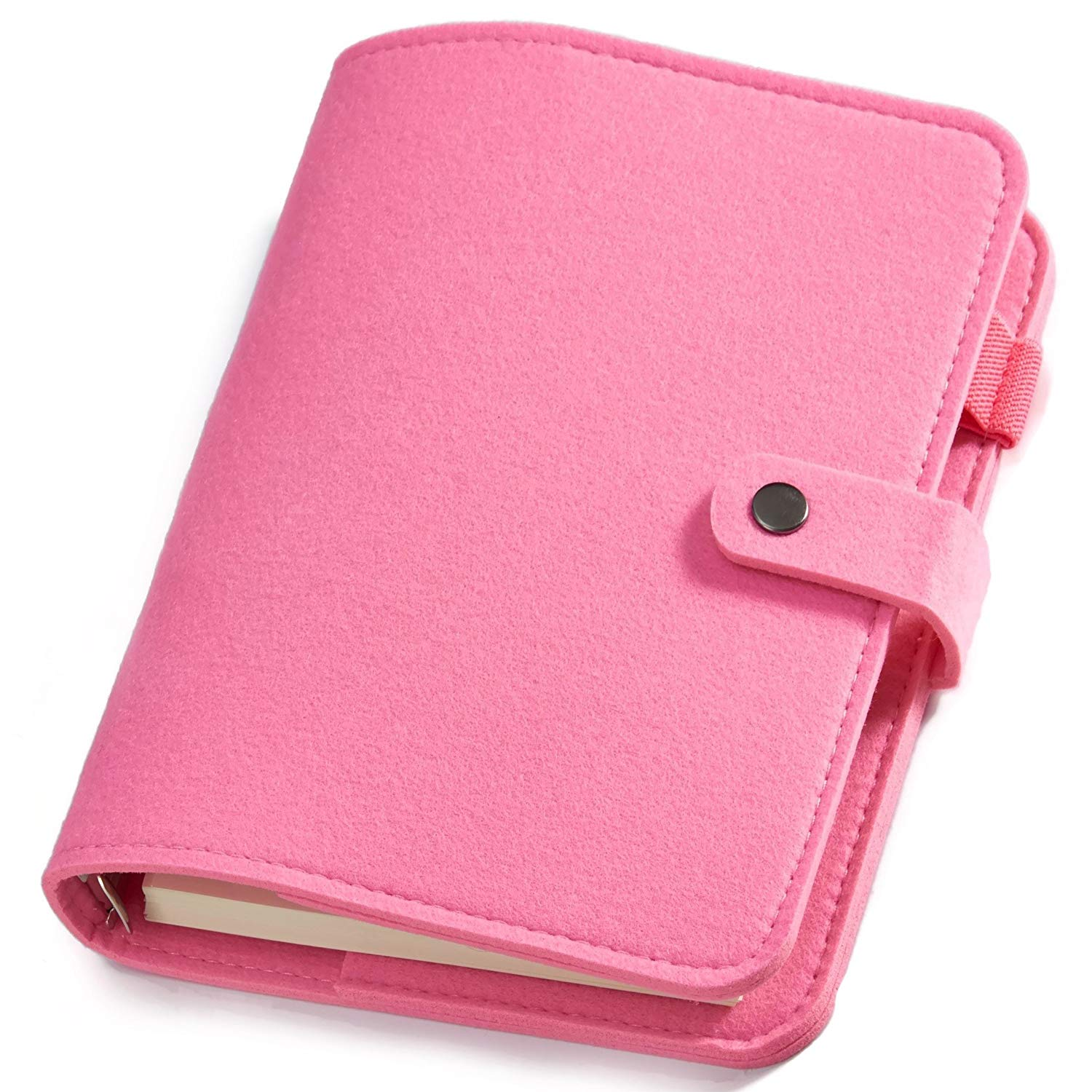 Poway Wool Felt Writing Journal, A5 Plain Pink, Spiral Bound 6 Ring Pocket Traveler Notebook Diary with Refillable Pages, 80 Sheets (160 Pages) 100gsm Premium Paper