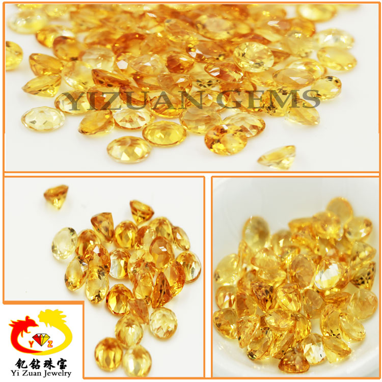 Round facet cut natural mineral crystal stone Citrine stones in loose gemstone