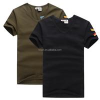 Cheap wholesale camo V-neck blank 100 cotton military men t shirts
