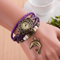 2622 Hot sell fashion leather bracelet watch dolphin pendant cheap wrist watch vintage watch