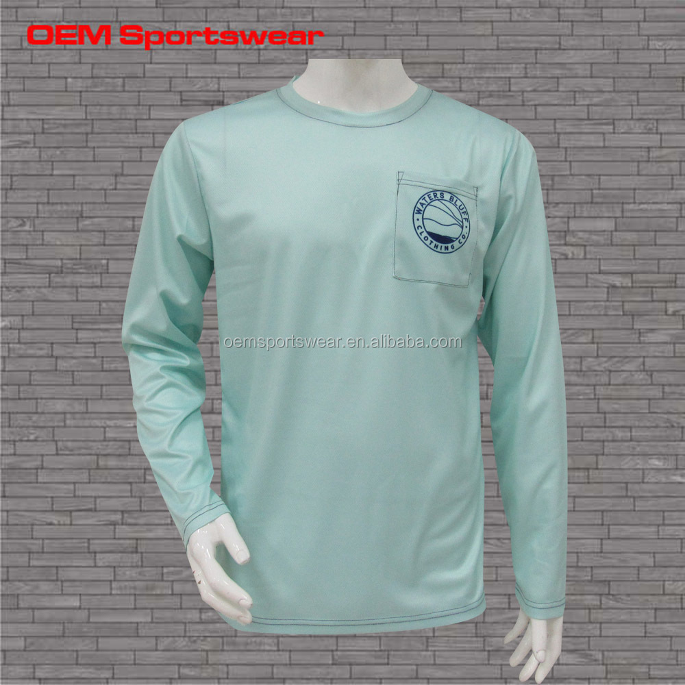 100 polyester quick dry upf 50 fishing long sleeve t-shirt