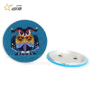 Fancy Design Pin Badges Custom Wholesale Round Blank Hand Embroidery Button Badges For Clothes