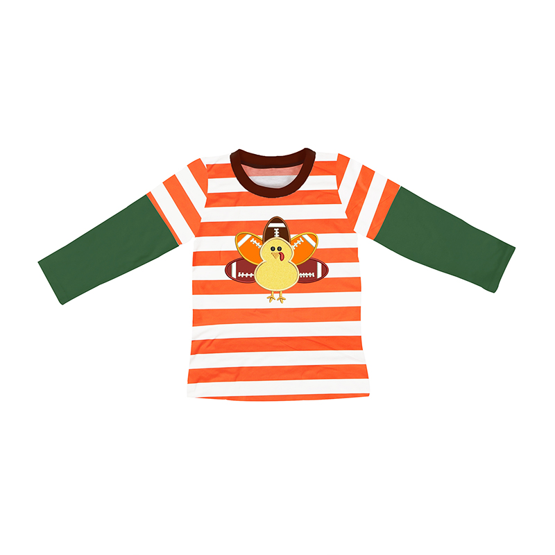 e98f62378616 orange white stripe baby boy Turkey t shirts long sleeve boutique  thanksgiving kids clothing for boy