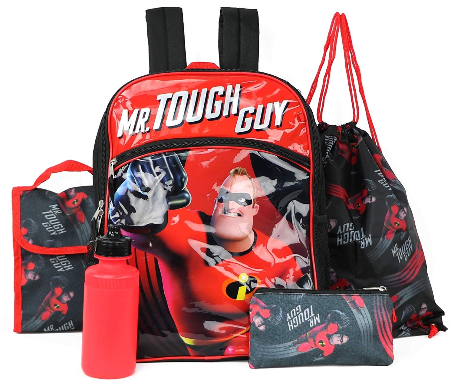 ebc022b3e82a Get Quotations · Incredibles 2 Backpack Kids 5 PC Lunch Box Water Bottle  Cinch Bag School Set