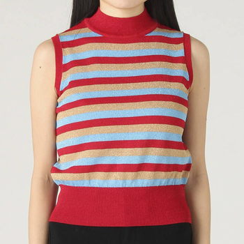 Simple Style Summer Top Waistcoat Sleeveless Stripe Sweater Knitting