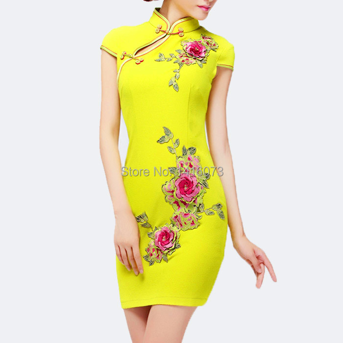 Cheap yellow dress with flowers find yellow dress with flowers get quotations 2015 new summer chinese traditional dress womens fashion lemon yellow flowers embroidery qipao cheongsam dress free mightylinksfo