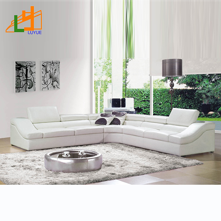 China Sectional Furniture L Shaped White Leather Living Room