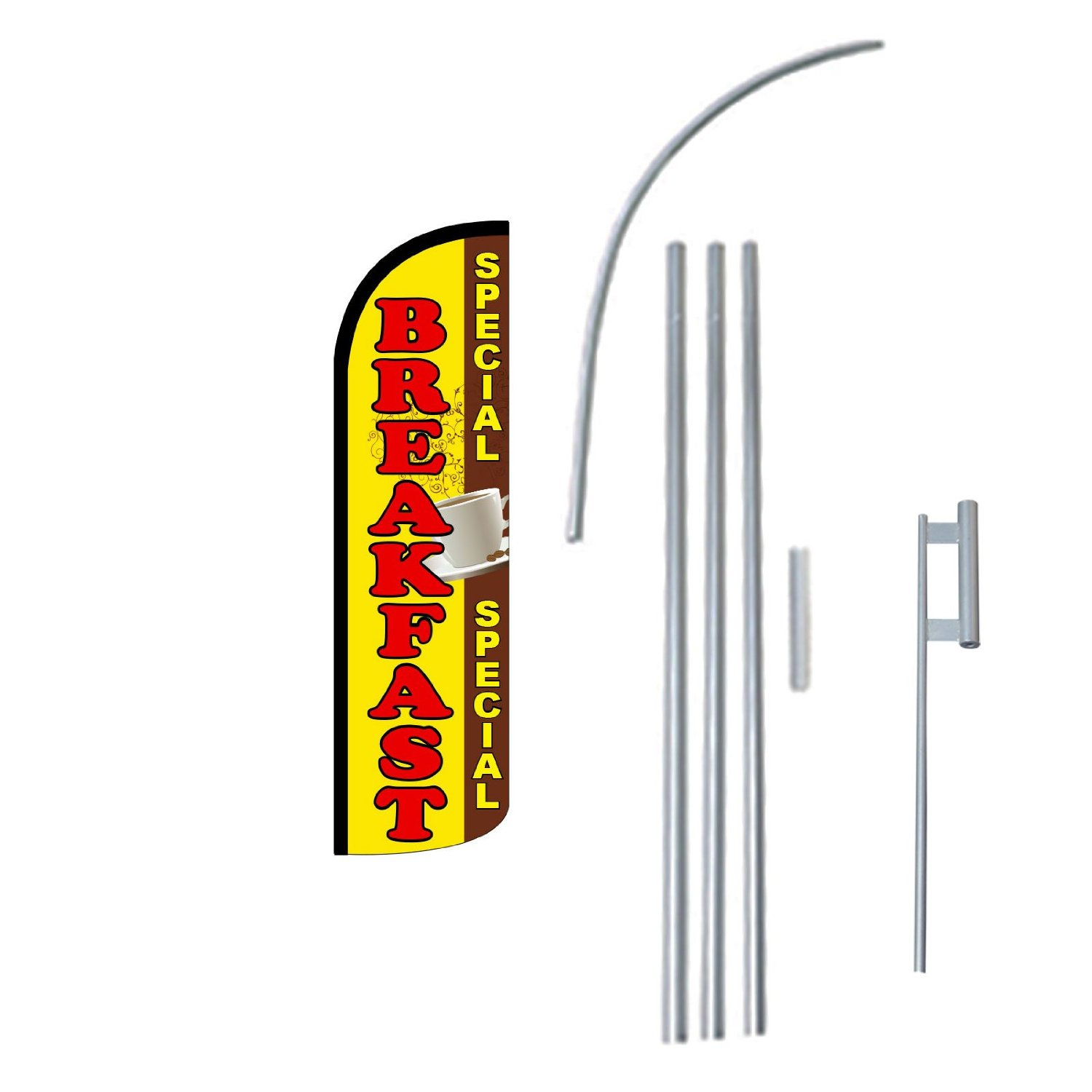 """NEOPlex - """"Breakfast Special"""" 12-foot KING SIZE (WINDLESS) Complete Swooper Feather Flag Kit...includes 5-piece 15-foot Pole and Ground Spike"""