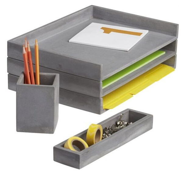cement desk accessories letter tray pencil cup and catchall for office