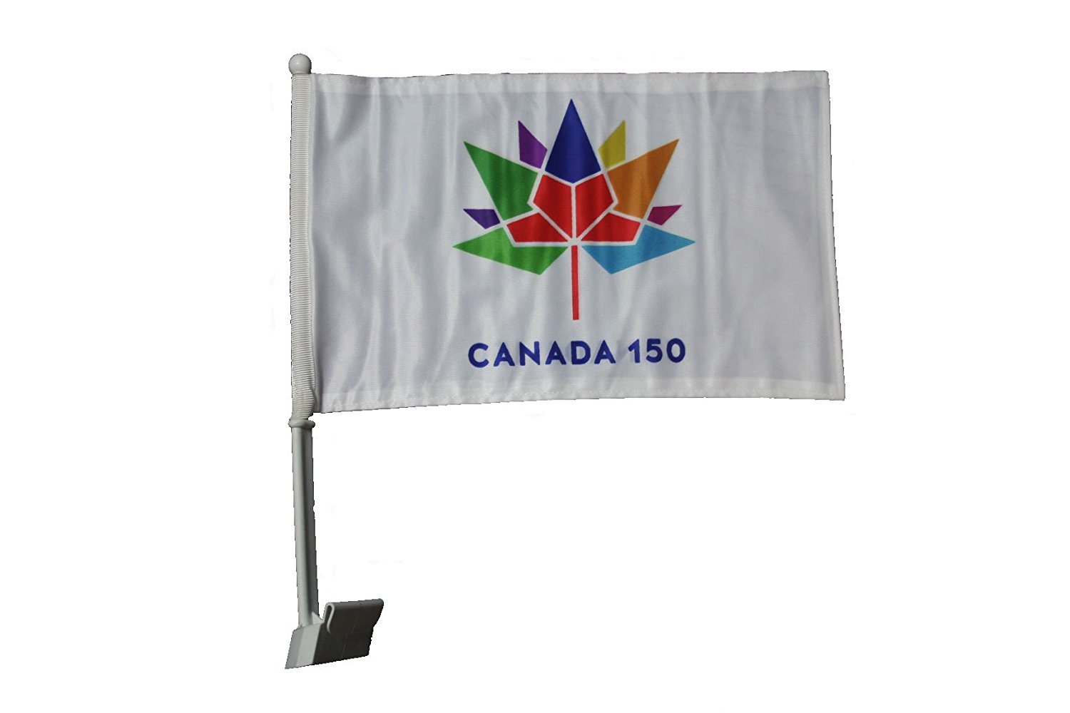 """CANADA 150 Year Anniversary 1867 - 2017 WHITE 12"""" x 18"""" Inch CAR Heavy Duty Flag With Stick .. Great Quality .. New"""