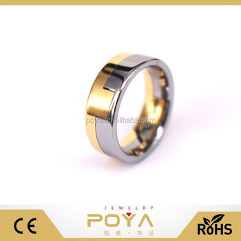 Poya Jewelry 8mm Tungsten Carbide Wedding Band Gold Silver Two