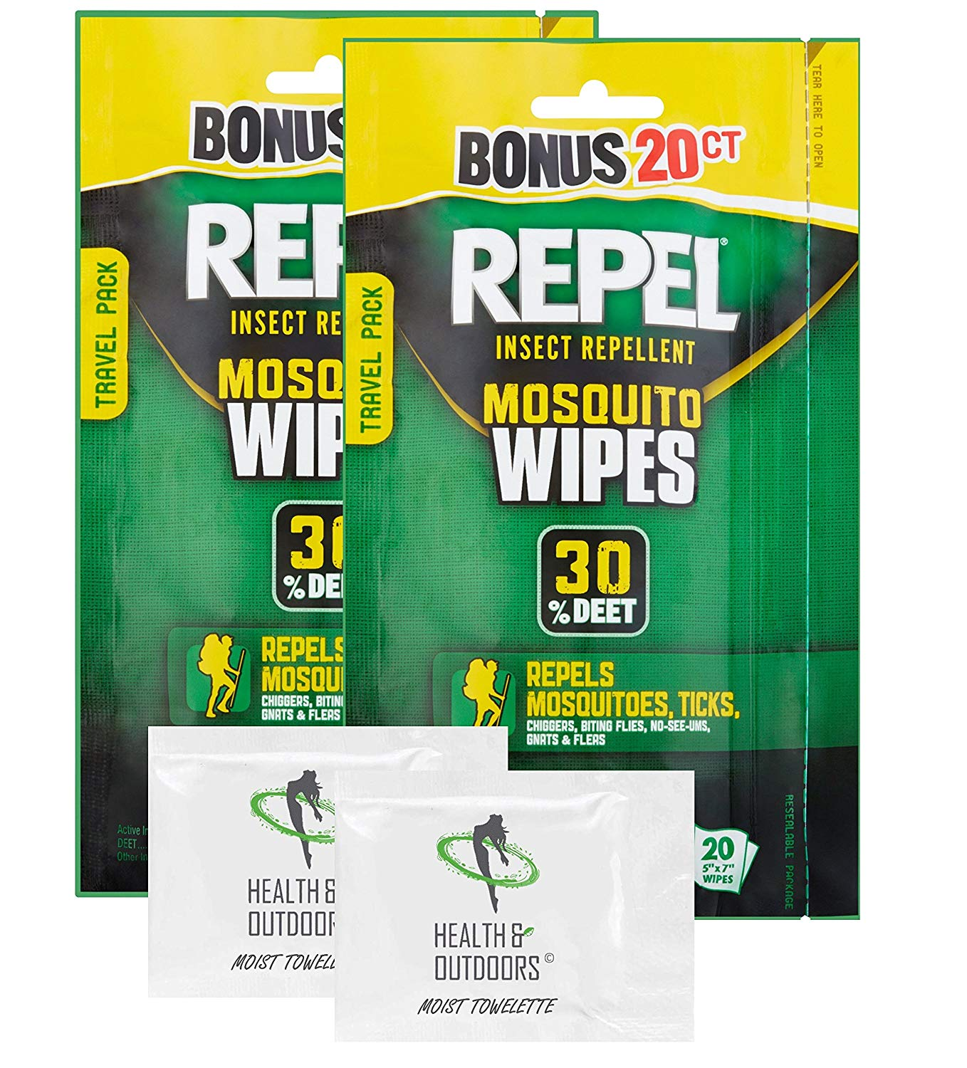 HealthandOutdoors (2) Repel Wipes 20 count & (2) EXCLUSIVE Hand Wipes