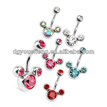 Cz Stone Mickey Mouse Shaped Hypoallergenic Belly Button Rings Buy Hypoallergenic Belly Button Rings Navel Piercing Navel Jewelry Product On