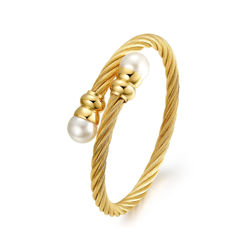 ATHENAA Gold Plated Stainless Steel Twisted Elastic Cable Wire Wrap Bangle Bracelets for Women