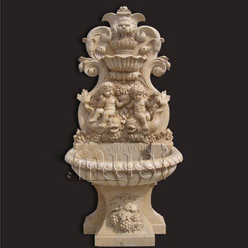 Yard Decoration Two Boy and Lion Head Beige Marble Wall Fountain