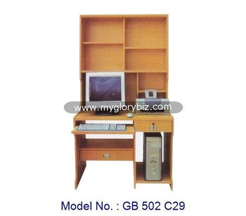 Study Room Computer Desk With Cabinet Design, Wooden Computer Desk With  Simple Design, MDF