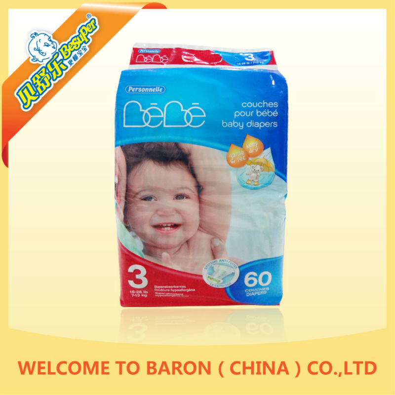 Soft Absorbent Personal Care Disposable diaper stock lots