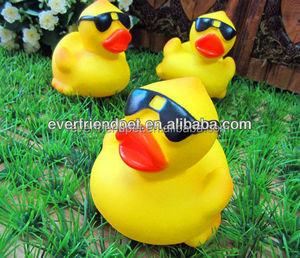 2015 New ! EN71-2-3-9 Promotiona rubber duck with sunglasses