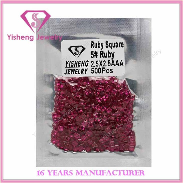 3x3mm Hot Sale Square Diamond Europe Cut Fake Natural 5# Ruby