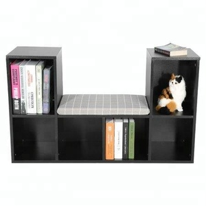 Open cube wooden sit display cabinet