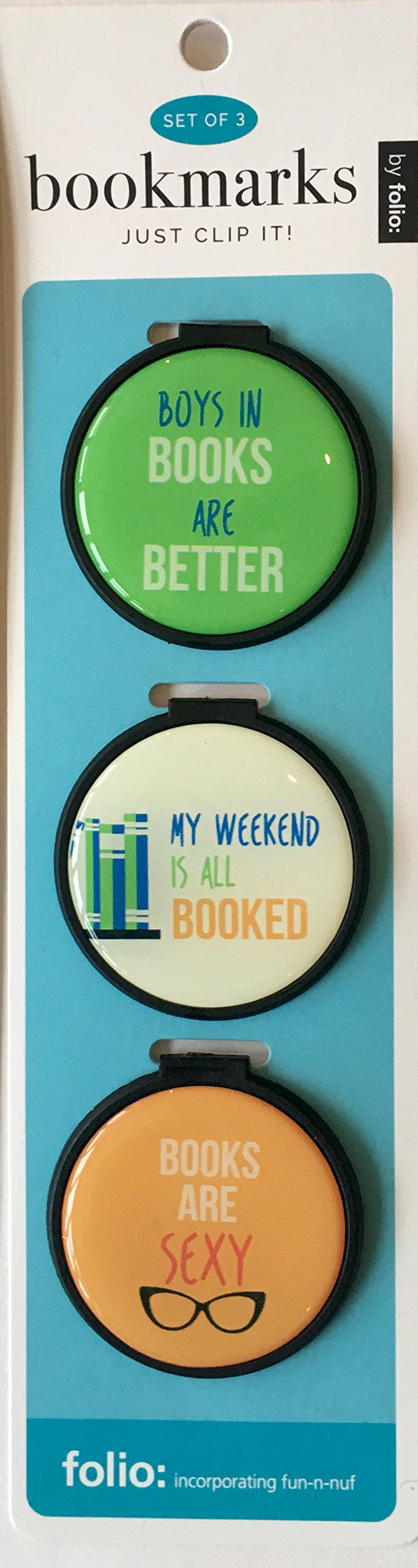 Just Clip it! Quote Bookmarks - (Set of 3 clip over the page markers) - BOYS are BETTER in BOOKS, MY Weekend is all BOOKED, BOOKS are SEXY!