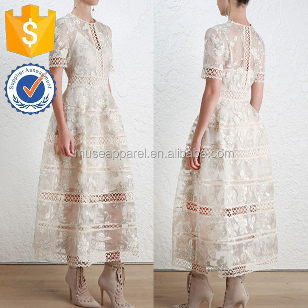 Maxi Embroidered Lace Dress OEM/ODM Women Apparel Clothing Garment Wholesaler Clothing Made to Order