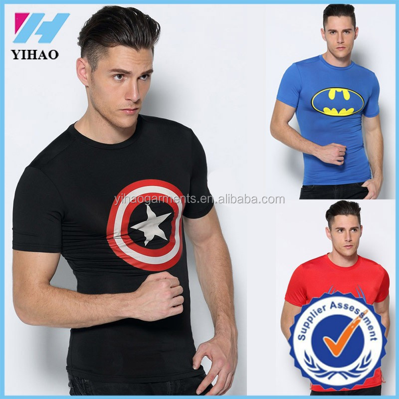 yihao clothing manufacture top sale compression supermen print t shirt