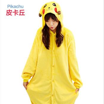 Мода унисекс мультфильм зима косплей-костюм Пикачу балахон животных  комбинезон onesie кигуруми пижамы 3fc042f7025a9