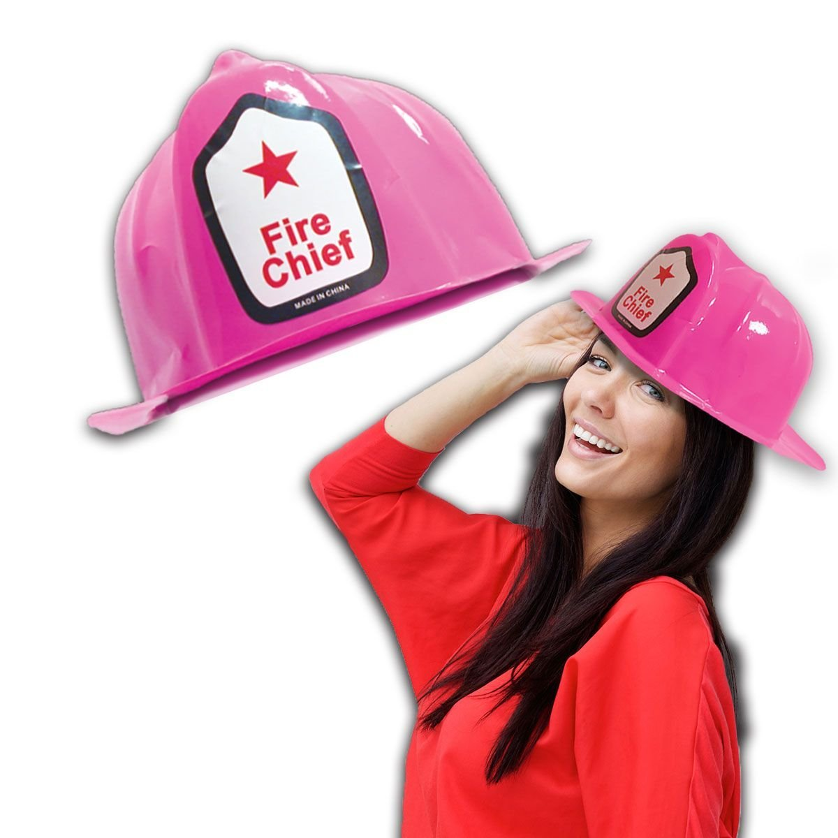 0f43ab732 Get Quotations · Pink Firefighter Party Hats - Novelty Fireman Plastic  Helmets for Party - 12 Pack