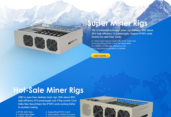 2018 Customized 16 GPU mining rig case riserless machine for