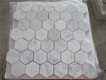 Carrara Marble Italian White Bianco Carrera Hexagon Mosaic Tile - 2 carrara marble hexagon floors