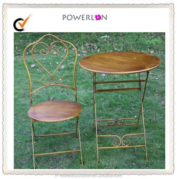 En Gros Jardin Brun Vintage De Fer Pliable Table De Bistrot Chaise ...