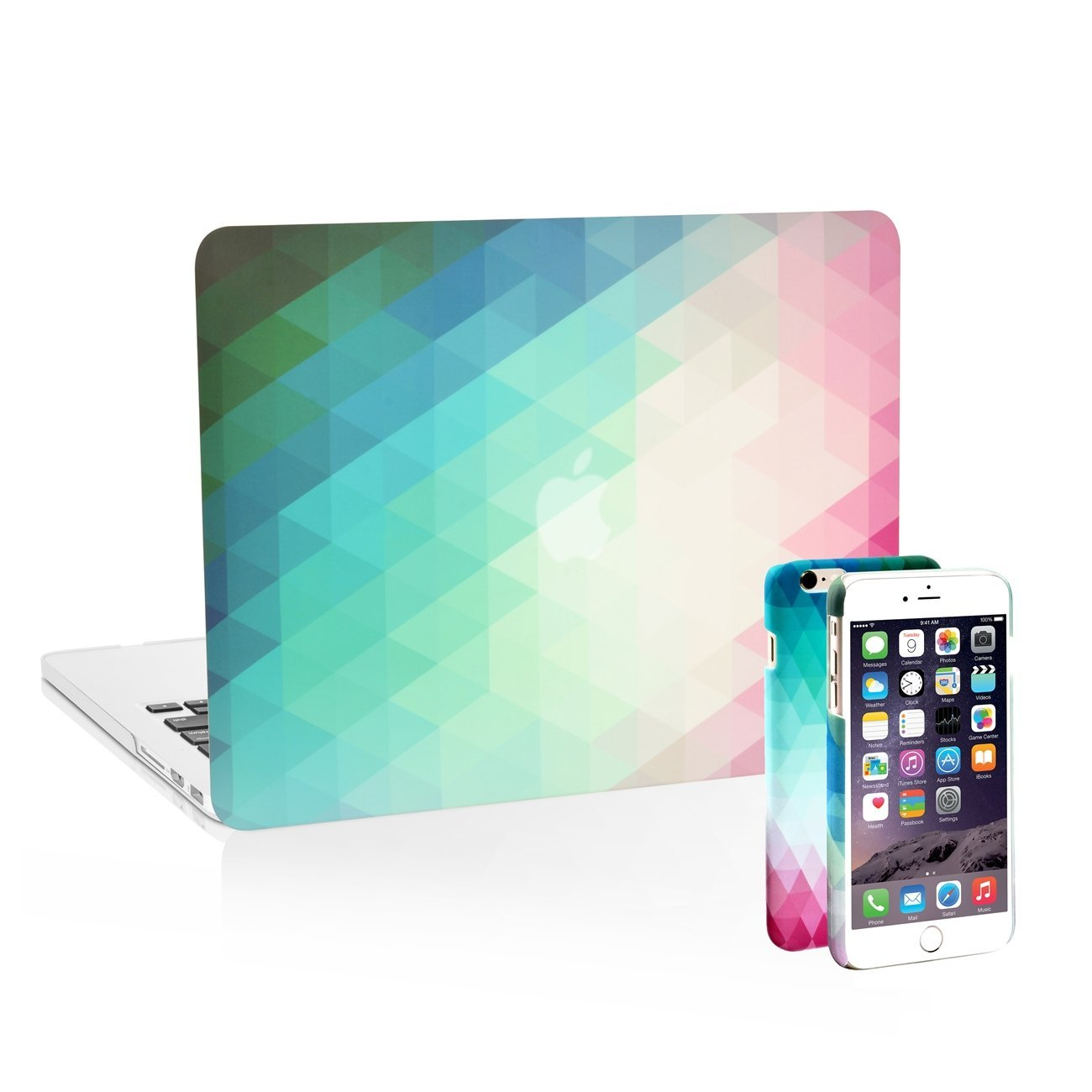 "UNIK CASE-2in1 iPhone (6/6s) Plus Case with Matching Gradient Ombre Graphic Hard Shell Case for Retina 13"" Macbook Pro (A1502/A1425)"