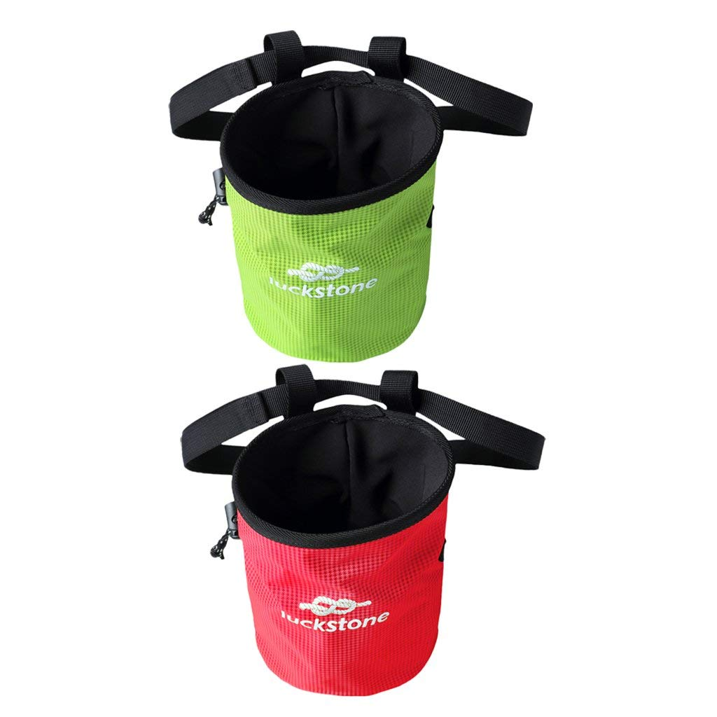 MagiDeal 2pcs/set Green & Red Rock Climbers Outdoor Climbing Chalk Bag with Adjustable Belt & Drawstring Closure