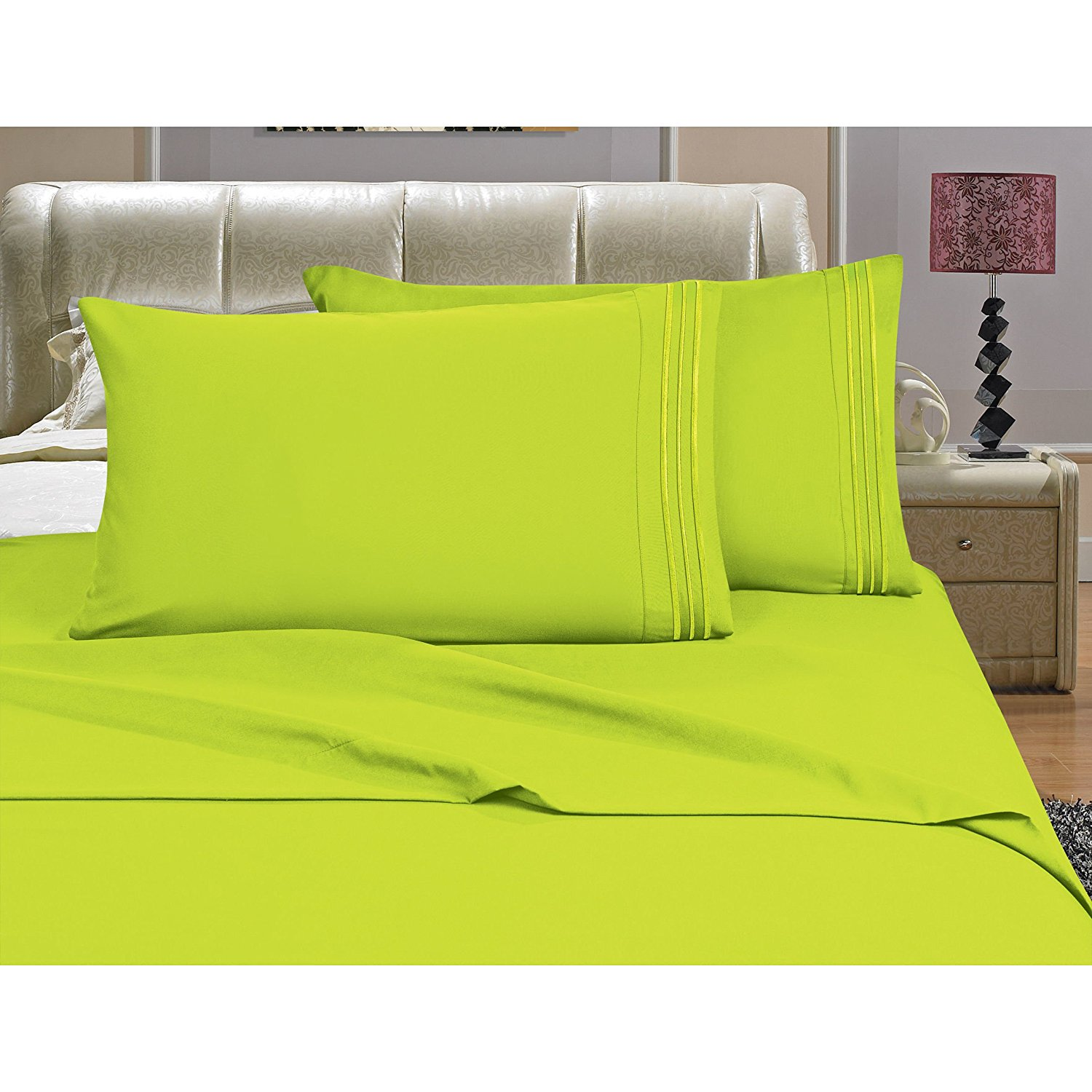 OSK 3 Piece Girls Lime Green Embroidered Stripe Sheet Twin Twin XL Set, Light Green Color Solid Pattern Design Kids Bedding, Luxurious Colorful Traditional Teen Themed, Polyester Microfiber