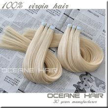Drouble drawn 2.5g/piece 8-30 inch tape hair extension rainbow colored hair extensions 27/613 color gray hair