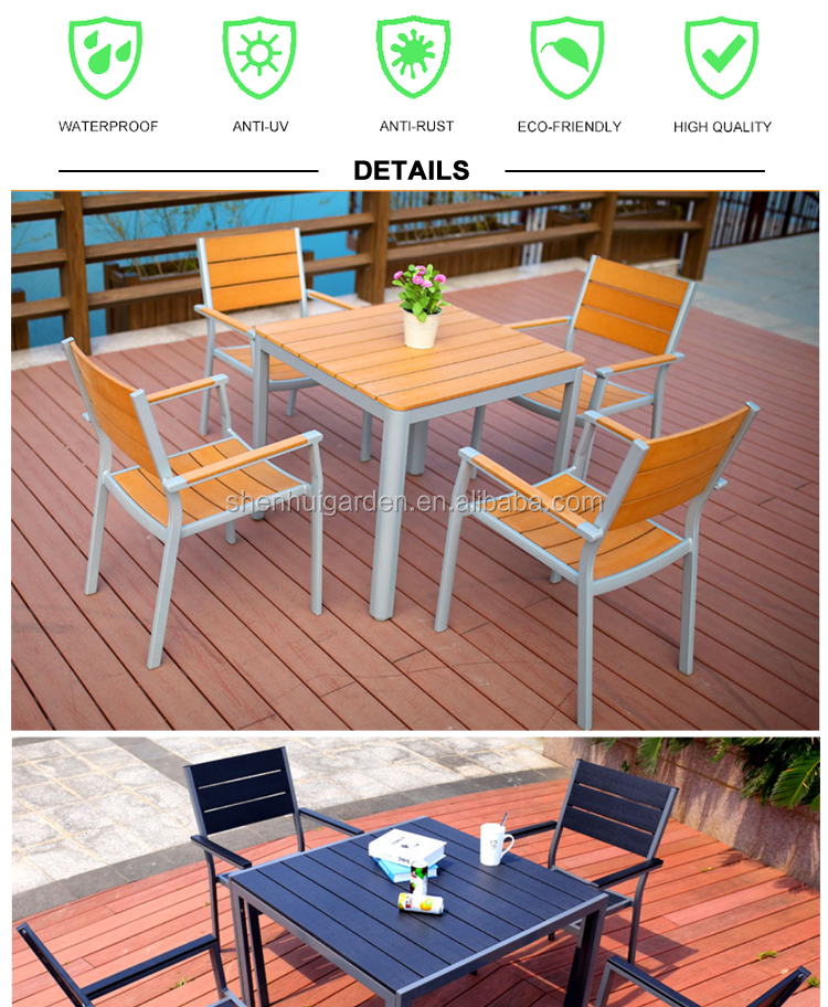 garden teak garden furniture metal plastic wood table and chair stainless steel frame